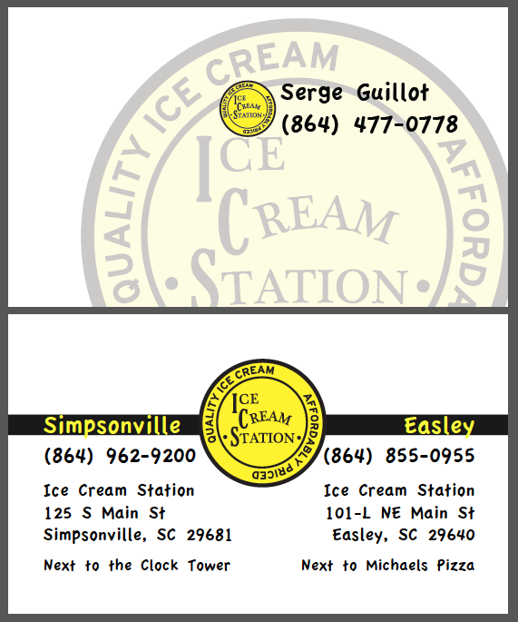 Ice Cream Station Business Card